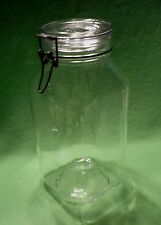 Vintage fv PER ALIMENTI Italy 3 QUART tall CANISTER JAR with bale wire latch.VGC