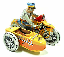 HARLEY DAVIDSON Xonex Police Motorcycle Windup 1950s Reproduction Tin Toy Biker