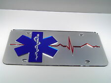 EMT fire fight mirror rescue mirrored acrylic laser cut license plate heartbeat
