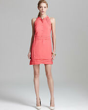 L - NANETTE LEPORE Costa Brava Button Halter Dress - Mango Coral $298