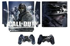 Skin Sticker Cover PS3 PlayStation 3 Slim and 2 controller skins COD Ghosts Q268