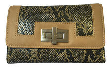SNAKE PRINT PURSE WITH SILVER TWIST LOCK