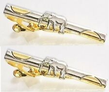 2 tie bar clips Lot Elephant clasps pins silver gold tone