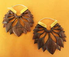 Floral Carved Wood Hoop Earrings .925 Sterling Silver Hook Wholesale Jewelry