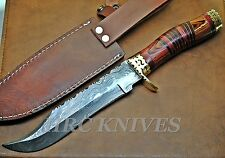 "DB3 ~ 12"" CUSTOM HRC DAMASCUS BOWIE TRACKER HUNTING KNIFE W/ WOOD HANDLE - USA"