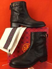 NIB TORY BURCH SELENA BLACK DISTRESSED LEATHER SUED REVA MOTO ZIP ANKLE BOOTS 10