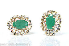 9ct Gold Emerald Stud Earrings Made in UK Gift Boxed