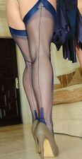 NEW NAVY Gio FF Fully Fashioned Cuban Heel Seamed Stockings Key Hole Welt 11 XL