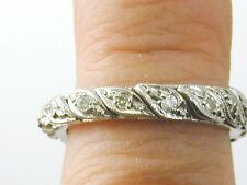 Diamond full eternity ring set 16 diamonds  leaf design C. 1960's size M 3.4grms