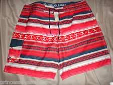 American Eagle Mens XXXL Board Surf Shorts Swim Trunks Red Black NWT