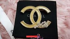 2010 10A CHANEL Classic CC Enamel LARGE Iridescent Crystal Brooch Gold Pin
