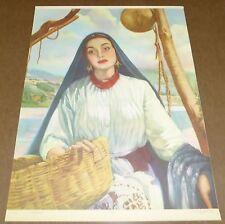 VINTAGE CALENDAR PRINT ORIGINAL LITHOGRAPHY C1950 MEXICAN RELIGIOUS LARGE