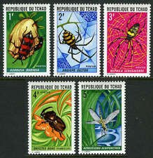 Chad 252-256, MI 510-514, MNH. Insects and Spiders: Beetle, Dragonfly, 1972