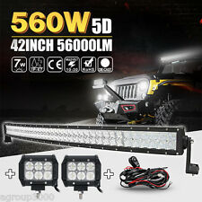 "5D Cree 560W 42inch Curved 40"" 45"" + 2x 4"" 18W LED Light Bar Flood Driving Truck"
