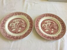 "Ridgway Willow North Staffordshire red Willow Dinner lunch Plate 9"" set of 2"