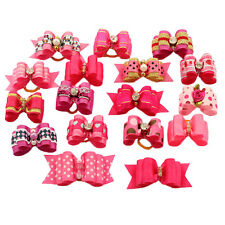 20pcs Rose Pink Rhinestone Pet Dog Hair Bows Rubber Bands Grooming Accessories