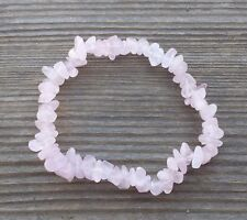 NATURAL ROSE QUARTZ STONE GEMSTONE STRETCHY CHIP BRACELET