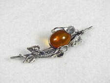 Antique Hallmarked Sterling Silver Art Nouveau Amber Glass Brooch Pin