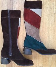 Vintage 1970s Suede Boots Brown Green Square Toe Tall Boho Hippie 70s 9 9.5