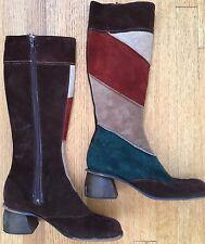 True Vintage 70s Suede Boots Brown Green Retro Boho Gypsy Festival Coachella 9