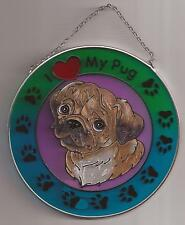 "Stained Glass Round Metal Sun Catcher D'Lites Dog Pug Design, NEW #6199 H-6"" OoP"