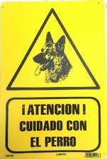 ATENCION CUIDADO CON EL PERRO. CARTEL LETRERO 20 X 30 CMS. PLACA PLASTICA SEÑAL