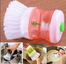 Kitchen Wash Tool Pot Dish Brush with Washing Up Liquid Soap Dispenser