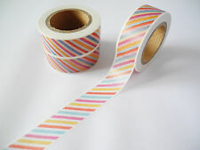 10 Metre Roll Washi Tape Rainbow Stripe Multicolour Candy Planner DIY 15mm