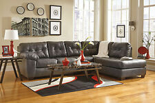 SERENA - Modern Gray Bonded Leather Sofa Couch Chaise Sectional Set Living Room