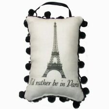 "Door Hanger - (Linen Pillow Style) - ""I'd Rather be in Paris"" - (6 1/2"" x 5"")"