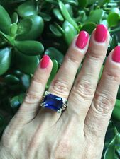 "NEW ""designer inspired"" Deep Blue Saph CZ Ring Floral detail & Pave Prong size 6"