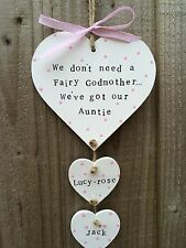 Handmade Personalised Plaque Sign Hanging Heart Auntie Present Gift Chic