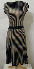 MARC By Marc Jacobs Black & Gold Wool Metallic Sleeveless Knit Flared Dress XS