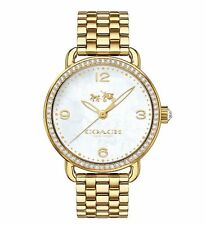 NWT Coach WOMEN'S Delancey Gold Tone MOP Pearl Dial Crystal Watch 36mm 14502482