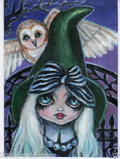 Aceo PRINT gothic witch owl halloween zombie big eyes #84 art Liquid Acid Eyes