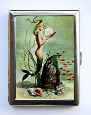 Mermaid Cigarette Case Wallet Business Card Holder nude retro rockabilly tattoo