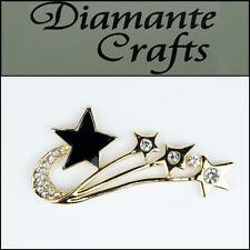 3D Shooting Star Gold Alloy Clear Diamantes Black Enamel DIY Case Deco 3FST2013