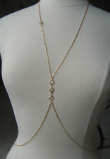 BODY JEWELRY CHAIN  CLEAR CRYSTAL GOLD PLATED O12