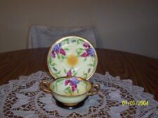 T& V LIMOGES FRANCE TWO HANDLED CUP & SAUCER IRISES SIGNED ASIS
