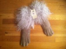 UGG LIGHT GRAY LONG PILE SHEARLING CUFF GLOVE ORG. $195.00 SIZE MEDIUM BNWT