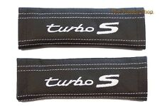 SEAT BELT COVERS BLACK LEATHER GREY EMBROIDERY TURBO S FOR PORSCHE