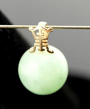 Vtg Solid 14k Yellow Gold 2.1g Green Chinese Jade Ball Pendant Necklace