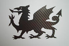 CARBON FIBRE Welsh Dragon car bumper sticker decal - Cymru Wales Rugby