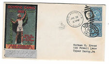 US 1932 Olympic Village Silver Overprint Cachet Summer Opening Day Cover Sc 719