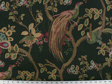 Drapery Upholstery Fabric Birds and Berries Embroidered Jacquard - Black Multi