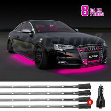 PINK Ultra Bright 8pcs LED Undercar Neon Accent Glow Kit Strobe Breath Solid