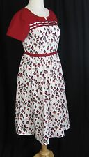 eShakti Retro Heart Custom Made Dress Size Print Vintage Style Flair Skirt S/M