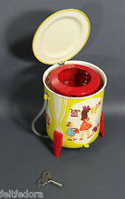 1960'S RUSSIAN WIND UP TIN TOY MECHANICAL LAUNDRY WASHING MACHINE LMZ LITHO RARE