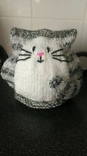 hand knitted grey stripe cat tea cosy large 2 pint teapot