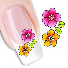 Nail Art Sticker Water Decals Transfer Stickers Pink & Orange Flowers (DX1010)